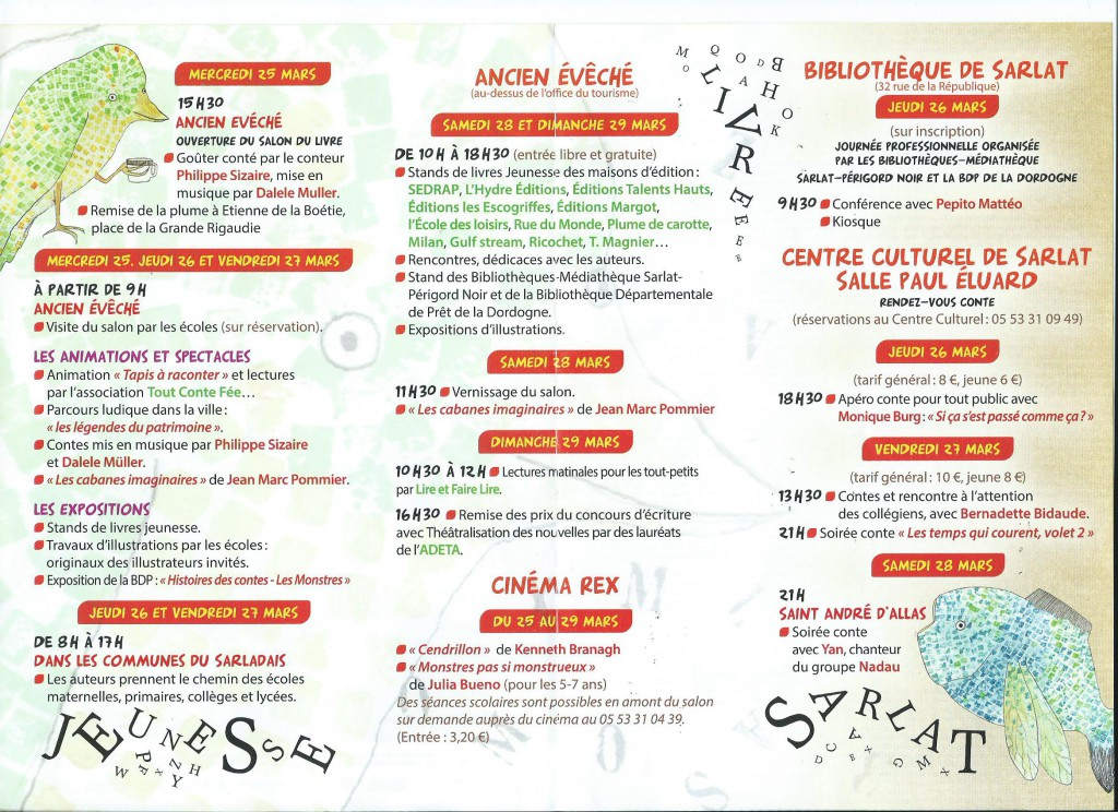 Salon du livre jeunesse de sarlat 25 29 mars 2015 jean luc aubarbier ecrivain historien - Salon du livre brive 2015 ...