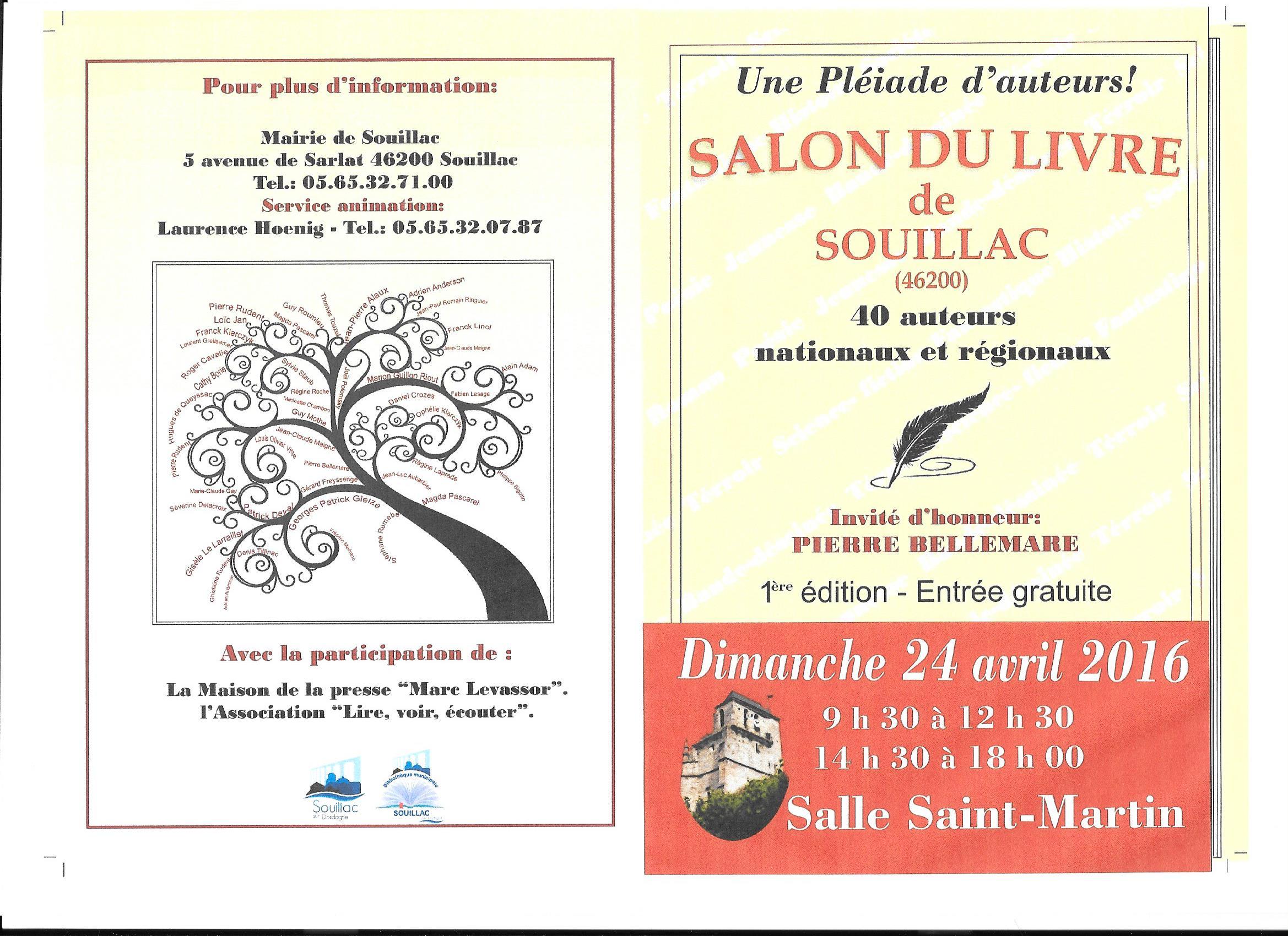 Salon du livre de souillac 24 avril 2016 jean luc - Salon du livre de brive ...